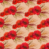 Seamless pattern of poppies and wheat. Stock Photography