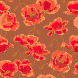 Seamless pattern with poppy. Seamless floral pattern with hand-drawn poppy flower Royalty Free Stock Photography