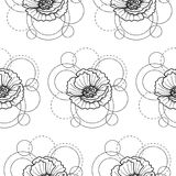 Seamless pattern with poppy and circles on white background. Abstract floral seamless pattern with poppy and circles on white background. Fashion background for Royalty Free Stock Image