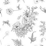 Seamless pattern with poppy flowers daffodil, anemone, violet in Stock Images