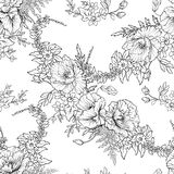 Seamless pattern with poppy flowers daffodil, anemone, violet in. Botanical vintage style. Outline hand drawing coloring page for adult coloring book.r Stock Stock Image
