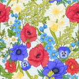 Seamless pattern with poppy flowers, daffodils, anemones, violet vector illustration
