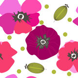 Seamless pattern poppy flowers. Spray paint. Drawing by hand Royalty Free Stock Images