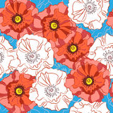 Seamless pattern poppy flowers. Spray paint. Drawing by hand Royalty Free Stock Photography