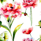Seamless pattern with Poppy flowers Royalty Free Stock Images