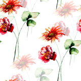 Seamless pattern with Poppy and Gerbera flowers. Watercolor painting Royalty Free Stock Photos