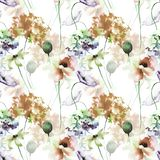 Seamless pattern with Poppy and Hydrangea flowers. Watercolor illustration Stock Photos