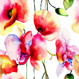 Seamless pattern with Poppy and Orchids flowers Royalty Free Stock Photo