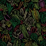 Vegetables Doodle Pattern Stock Images