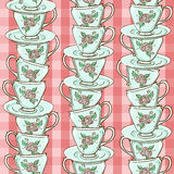 Seamless pattern of porcelain tea cups Stock Photography