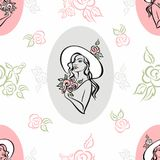 Seamless pattern. Portrait of a girl in a hat. Vintage. Bouquet of roses. Vector. royalty free illustration