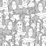 Seamless pattern portraits of girls in the graphic style. Seamless pattern portraits of the girls in the graphic doodle style. Coloring pages for adult Royalty Free Stock Photo