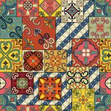 Seamless pattern with portuguese tiles in talavera style. Azulejo, moroccan, mexican ornaments. Seamless pattern with portuguese tiles in talavera style Stock Image