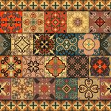 Seamless pattern with portuguese tiles in talavera style. Azulejo, moroccan, mexican ornaments. Seamless pattern with portuguese tiles in talavera style Stock Photography