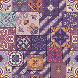 Seamless pattern with portuguese tiles in talavera style. Azulejo, moroccan, mexican ornaments. Seamless pattern with portuguese tiles in talavera style stock illustration