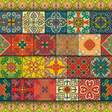 Seamless pattern with portuguese tiles in talavera style. Azulejo, moroccan, mexican ornaments. Seamless pattern with portuguese tiles in talavera style vector illustration