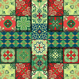 Seamless pattern with portuguese tiles in talavera style. Azulejo, moroccan, mexican ornaments. Royalty Free Stock Image