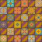Seamless pattern with portuguese tiles in talavera style. Azulejo, moroccan, mexican ornaments. Stock Images