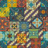 Seamless pattern with portuguese tiles in talavera style. Azulejo, moroccan, mexican ornaments. Stock Photo