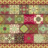 Seamless pattern with portuguese tiles in talavera style. Azulejo, moroccan, mexican ornaments. Stock Image