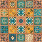 Seamless pattern with portuguese tiles in talavera style. Azulejo, moroccan, mexican ornaments. Seamless pattern with portuguese tiles in talavera style Stock Photo