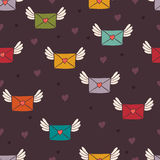Seamless pattern with post letters. Love mail. Royalty Free Stock Photography