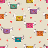 Seamless pattern with post letters. Love mail. Stock Photo