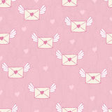 Seamless pattern with post letters. Love mail. Stock Images