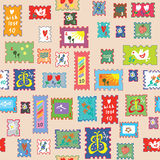 Seamless pattern with post stamps - funny childish design Royalty Free Stock Photo