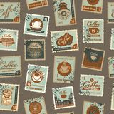 Seamless pattern with postage stamps coffee theme Royalty Free Stock Image