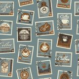 Seamless pattern with postage stamps coffee theme Royalty Free Stock Images