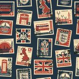 Seamless pattern with postage stamps on UK theme. Retro Postage Seamless Background. Vector seamless pattern on UK and London theme with postage stamps and Stock Photography