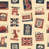 Seamless pattern with postage stamps on UK theme. Retro Postage Seamless Background. Vector seamless pattern on UK and London theme with postage stamps and Royalty Free Stock Photo