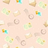 Seamless pattern with postcards and envelope Stock Photo
