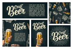 Seamless pattern beer tap, class, can, bottle and hop. Seamless pattern and poster for beer party. Tap, class, barrel, can, bottle and hop. Craft Beer Stock Photos