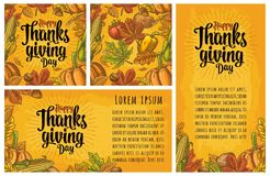 Seamless pattern and poster with Happy thanksgiving Day. Calligraphy lettering. Vector color engraving illustration pumpkin, corn, leaf maple, acorn, seed Stock Images