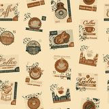 Seamless pattern with postmarks on coffee theme Stock Images
