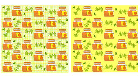 Seamless pattern with a pot of jam vector Stock Photography