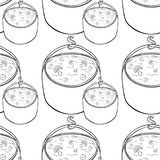 Seamless pattern pot of soup with mushrooms for hiking on nature. Coloring seamless pattern pot of soup with mushrooms for hiking on nature  vector illustration Stock Photo