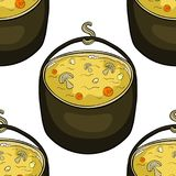 Seamless pattern pot of soup with mushrooms for hiking on nature. Vector illustration Royalty Free Stock Images