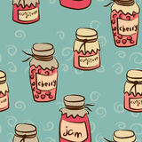 Seamless pattern with pots of the jam Royalty Free Stock Photography