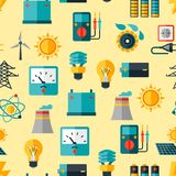 Seamless pattern with power icons in flat design Royalty Free Stock Photos
