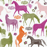 Seamless Pattern Of Prancing Horses Royalty Free Stock Photography