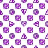 Seamless pattern with precious gem Amethyst Stock Photos