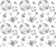Seamless pattern with precious gem diamond in flat style Stock Images