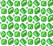 Seamless pattern with precious gem emerald in flat style Stock Photos