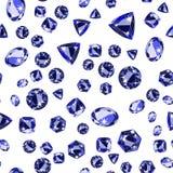 Seamless pattern with precious gem Sapphire Royalty Free Stock Photo