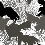 Seamless pattern with predatory birds silhouettes Stock Photography