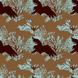 Seamless pattern with predatory birds silhouettes. Vector illustration Royalty Free Stock Photos