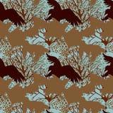 Seamless pattern with predatory birds silhouettes Royalty Free Stock Photos
